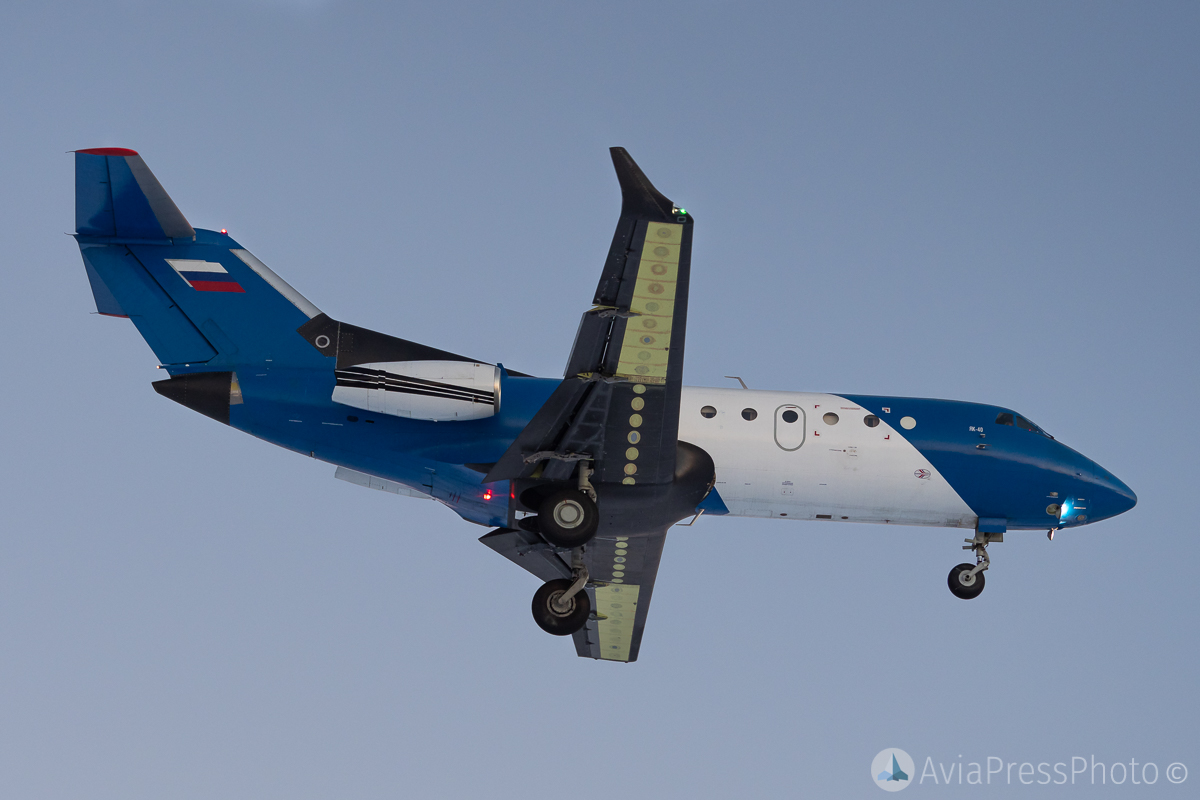 First flight of Yak-40 with two engines and composite wing